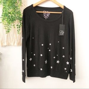 CHASER Silver Star Long Sleeve Pullover Sweater